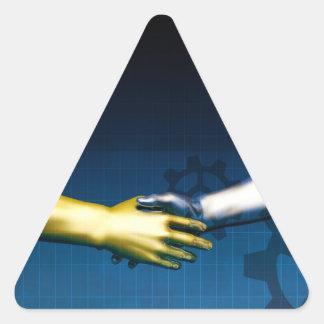 Adesivo Triangular Rede da integração do negócio com as mãos que
