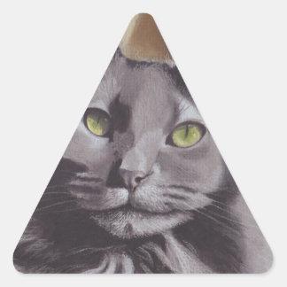 Adesivo Triangular Retrato cinzento do animal de estimação do gato