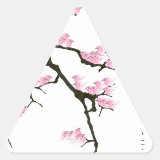 Adesivo Triangular sakura com os pássaros cor-de-rosa por fernandes