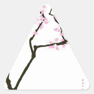 Adesivo Triangular sakura com peixe dourado cor-de-rosa, fernandes