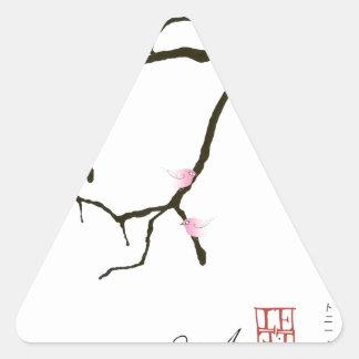 Adesivo Triangular sakura e 7 pássaros cor-de-rosa 2, fernandes tony