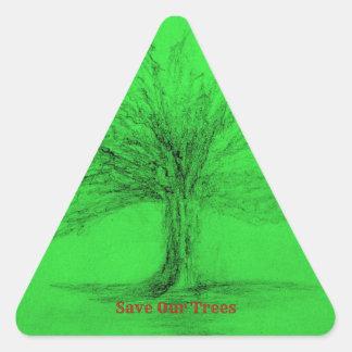 Adesivo Triangular Salvar nossas árvores