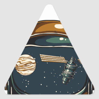 Adesivo Triangular satélite da NASA e a lua