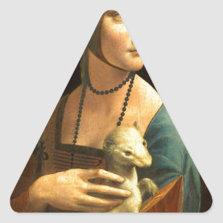 Adesivo Triangular Senhora da pintura de Da Vinci original com um