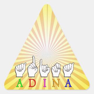 ADESIVO TRIANGULAR SINAL CONHECIDO DE ADINA FINGERSPELLED ASL
