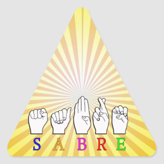 ADESIVO TRIANGULAR SINAL CONHECIDO SURDO DO SABRE FINGERSPELLED ASL