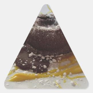 Adesivo Triangular Sobremesa morna do bolo da lava do fundente do