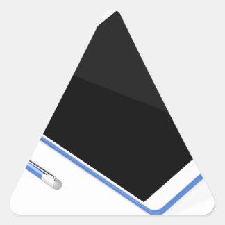 Adesivo Triangular Tabuleta no suporte e na caneta digital