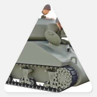 Adesivo Triangular Tanque e soldados dos desenhos animados na
