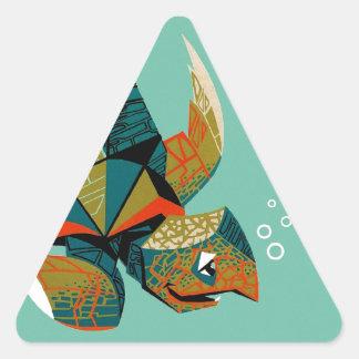 Adesivo Triangular Tartaruga de mar australiana animador