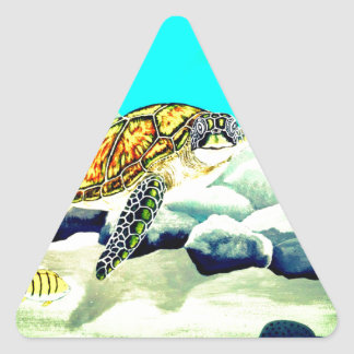 Adesivo Triangular Tartaruga de mar que pinta o mar azul bonito