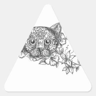 Adesivo Triangular Tatuagem principal da flor do jasmim do gato