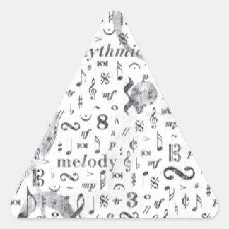 Adesivo Triangular Tema da música do teste padrão da nota da música
