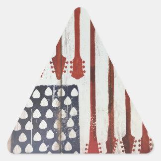 Adesivo Triangular Tema patriótico da música da guitarra da bandeira
