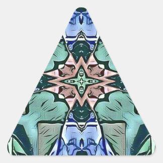 Adesivo Triangular Teste padrão artístico do pêssego moderno do Lilac