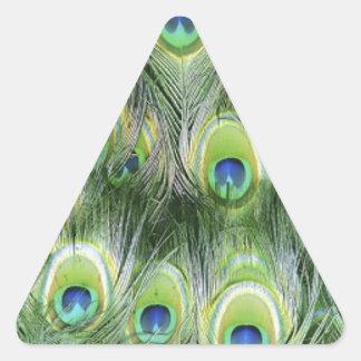 Adesivo Triangular Teste padrão da pena do pavão