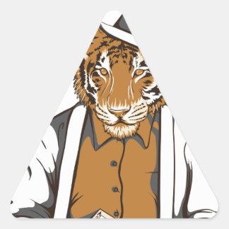 Adesivo Triangular tigre humano com cartões de jogo