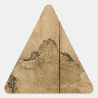 Adesivo Triangular Tinta japonesa nos primatas de papel & na paisagem