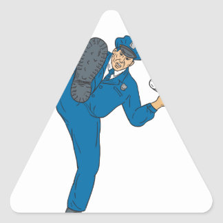 Adesivo Triangular Tocha da lanterna elétrica da arma do polícia que