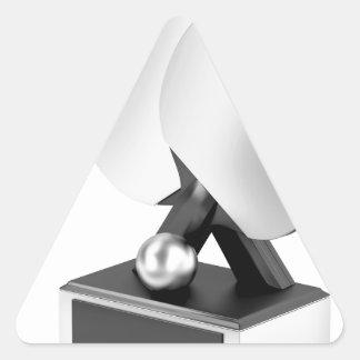 Adesivo Triangular Troféu de prata do ténis de mesa