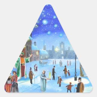 Adesivo Triangular Uma cena da rua do inverno de Scrooge da canção de
