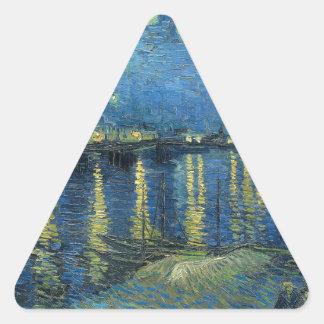 Adesivo Triangular Van Gogh: Noite estrelado sobre o Rhone