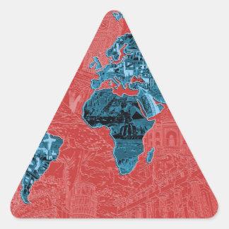 Adesivo Triangular vermelho 2 do mapa do mundo