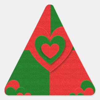 Adesivo Triangular vermelho do amor dos corações do tecido do Natal