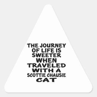 Adesivo Triangular Viajado com o gato do chausie do Scottie