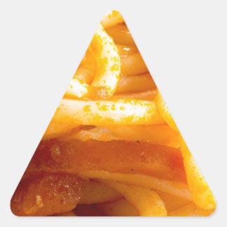 Adesivo Triangular Vista macro detalhada nos espaguetes cozinhados em