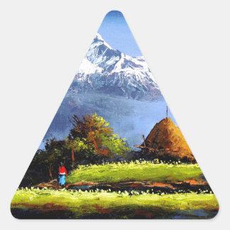 Adesivo Triangular Vista panorâmica da montanha bonita de Everest