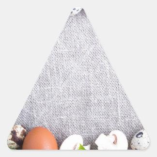Adesivo Triangular Vista superior dos ingredientes de comida no