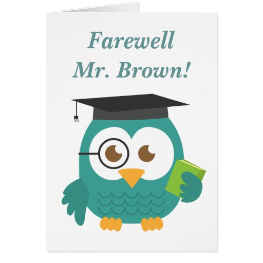 Adeus ao professor, coruja bonito do professor cartoes