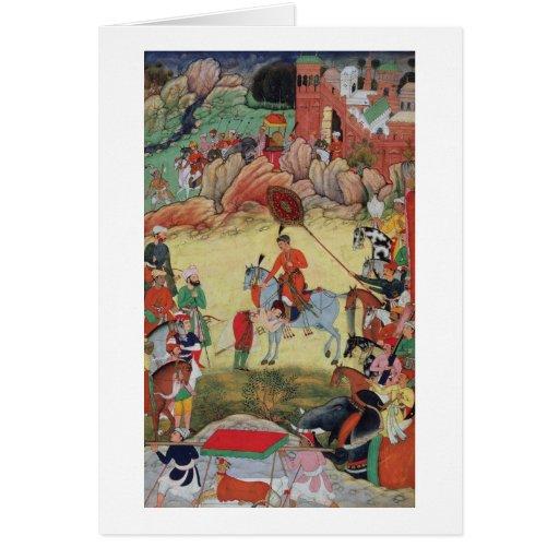 Adham Khan que paga a homenagem a Akbar em Sarangp Cartão