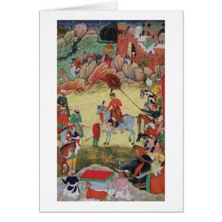 Adham Khan que paga a homenagem a Akbar em Sarangp Cartão Comemorativo