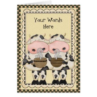 Adicione o cartão da vaca do café das palavras