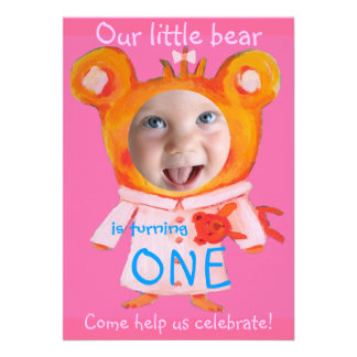adicione o primeiro aniversario engraçado bonito d convites personalizado