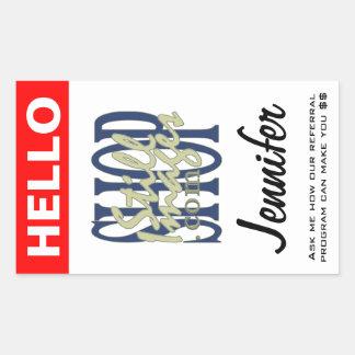 Adicione seu logotipo a este nome de etiqueta adesivo retangular