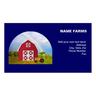 Adicione seu nome ao celeiro vermelho com céu azul cartoes de visita