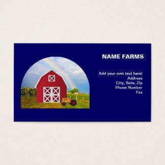 Adicione seu nome ao celeiro vermelho com céu azul cartão de visitas