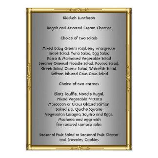 Adicione seu próprio menu de Kiddush para o bastão Convite 16.51 X 22.22cm