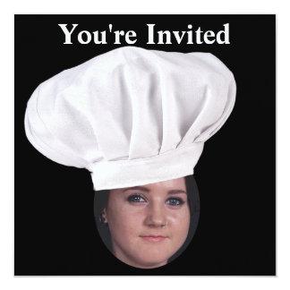 Adicione sua foto a um chapéu do cozinheiro chefe convite quadrado 13.35 x 13.35cm