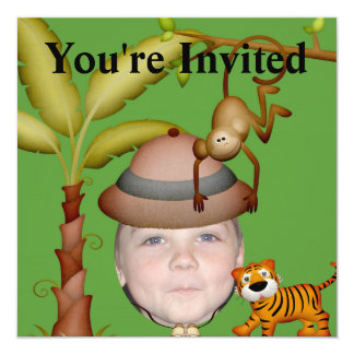 Adicione sua foto a um tema selvagem do safari de convite quadrado 13.35 x 13.35cm
