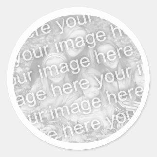 Adicione sua foto adesivo redondo