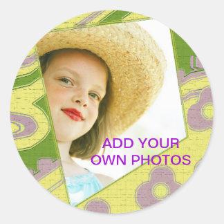 Adicione sua própria etiqueta da foto adesivos redondos