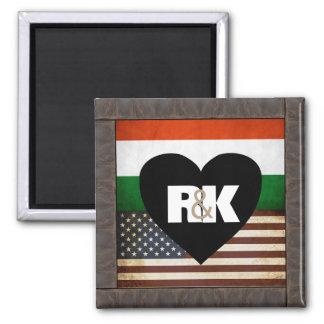 Adicione suas bandeiras & iniciais ímã quadrado