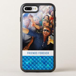 Adicione suas escalas de peixes azuis de néon da capa para iPhone 7 plus OtterBox symmetry