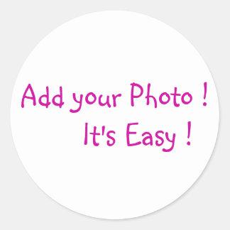 Adicione suas etiquetas da foto adesivos em formato redondos