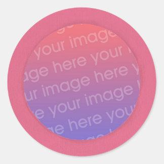 Adicione suas etiquetas da foto em um quadro cor- adesivo redondo