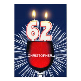 Adicione um nome, 62nd convite de aniversário,